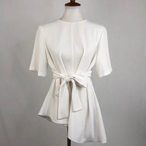 Zara Woman Tie Front Asymmetrical Hemline Top